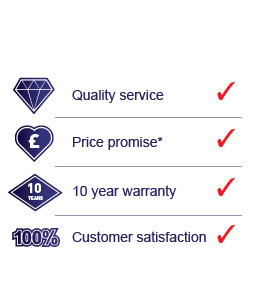 Quality service, price promise, 10 year warranty and 100 percent customer satisfaction